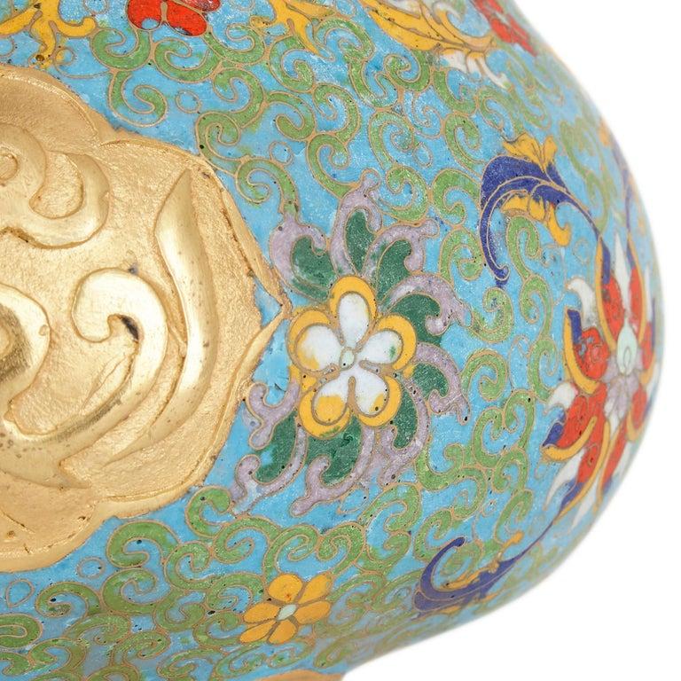Cloissoné Chinese Floral Cloisonné Enamel and Ormolu Vase for Islamic Market For Sale