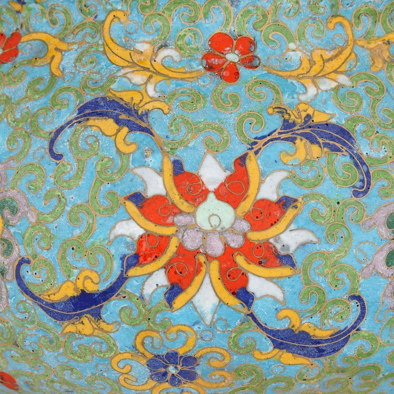 Chinese Floral Cloisonné Enamel and Ormolu Vase for Islamic Market In Good Condition For Sale In London, GB
