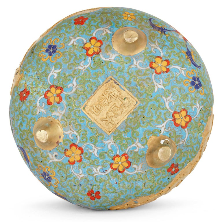20th Century Chinese Floral Cloisonné Enamel and Ormolu Vase for Islamic Market For Sale