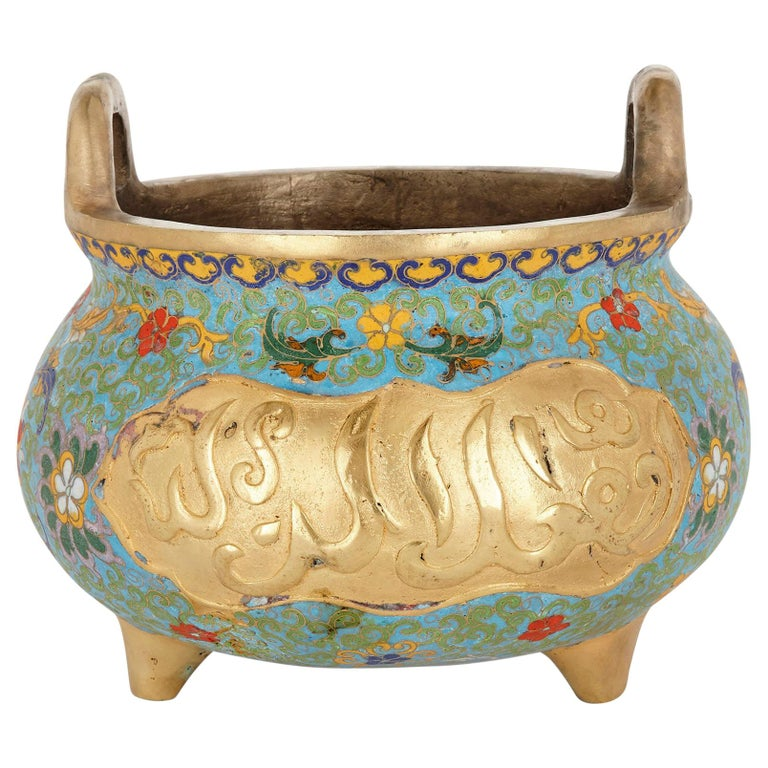Chinese Floral Cloisonné Enamel and Ormolu Vase for Islamic Market For Sale