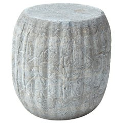 Chinese Floral Melon Shape Limestone Drum