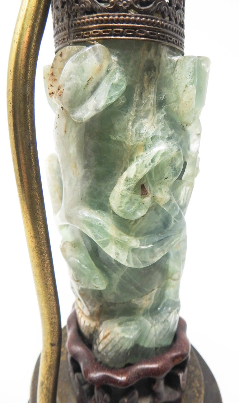 Chinese Fluorite Stone Lamp with Amethyst For Sale 3