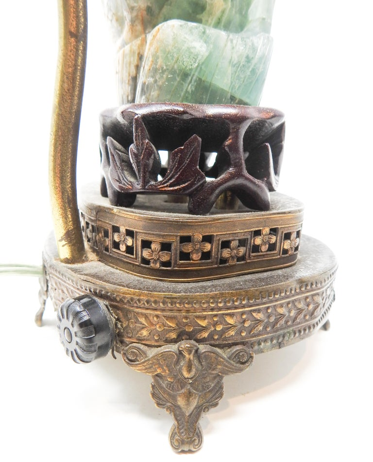 Chinese Fluorite Stone Lamp with Amethyst For Sale 4