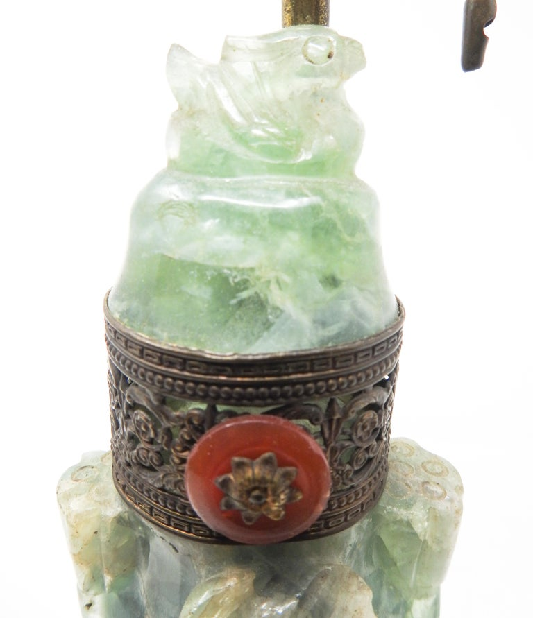 Chinese Export Chinese Fluorite Stone Lamp with Amethyst For Sale