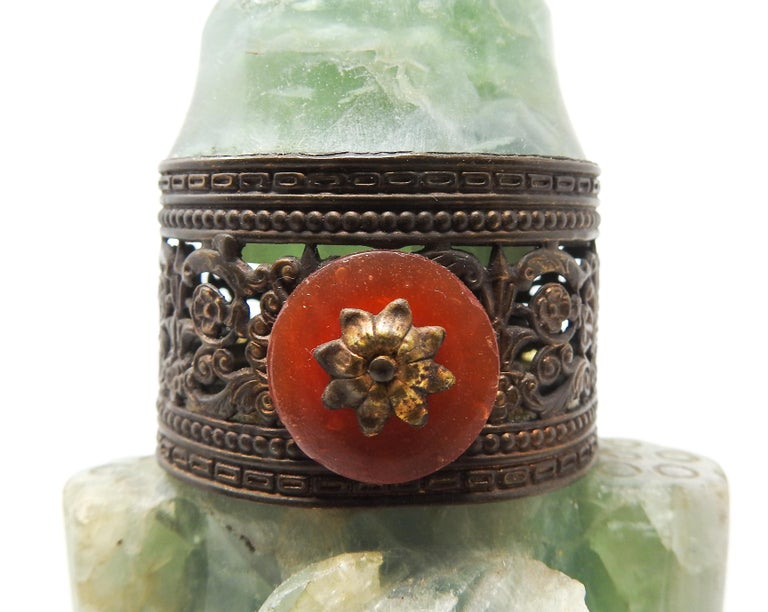 Hand-Carved Chinese Fluorite Stone Lamp with Amethyst For Sale