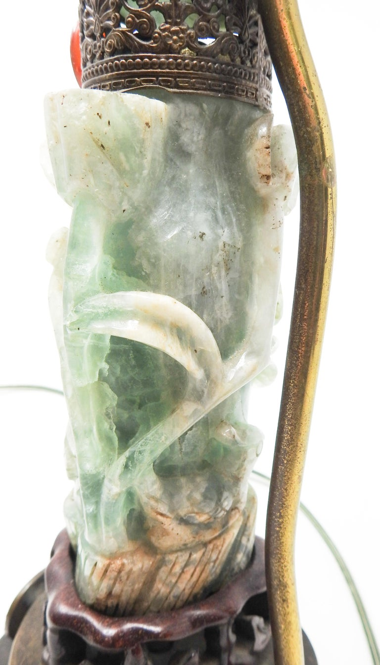 Bronze Chinese Fluorite Stone Lamp with Amethyst For Sale