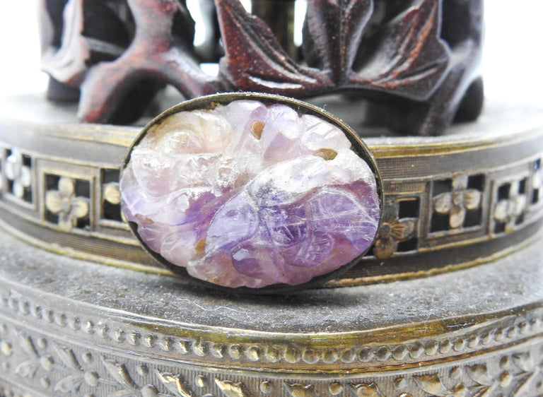 Chinese Fluorite Stone Lamp with Amethyst For Sale 2
