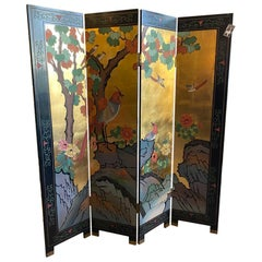Chinese Folding Floor Screen Four Panels
