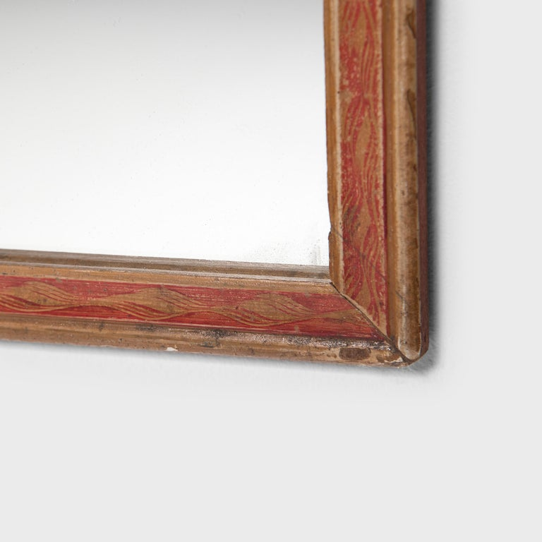 20th Century Chinese Folk Painted Wall Mirror For Sale
