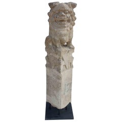 Chinese Foo Dog Hitching Post Sculpture in Solid Granite, Early 20th Century