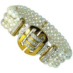 Chinese Four Blessing Symbol White Diamond Clasp Japanese Akoya Pearl Bracelet