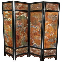 Chinese Four-Panel Coromandel Folding Screen