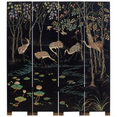 Chinese Four-Panel Coromandel Screen of Cranes