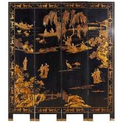 Chinese Four Panel-Gilt Lacquer Coromandel Screen