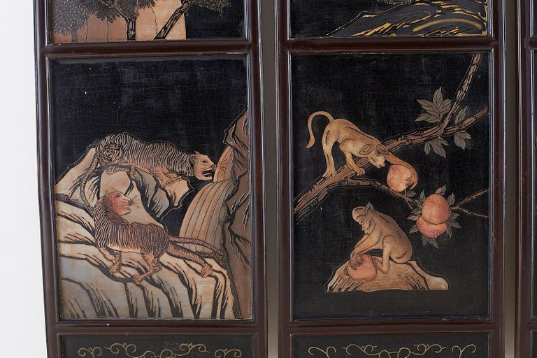 Chinese Four-Panel Lacquered Coromandel Panel Screen For Sale 3
