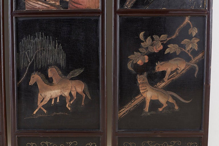 Chinese Four-Panel Lacquered Coromandel Panel Screen For Sale 4