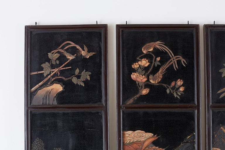 Chinese Four-Panel Lacquered Coromandel Panel Screen For Sale 5