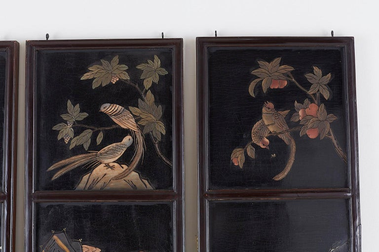 Chinese Four-Panel Lacquered Coromandel Panel Screen For Sale 6