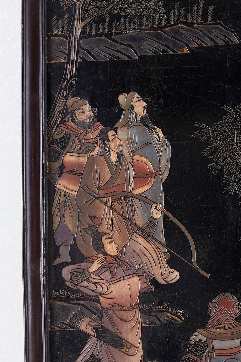 Chinese Four-Panel Lacquered Coromandel Panel Screen For Sale 7