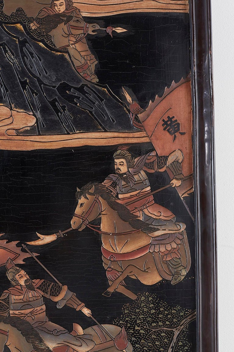 Chinese Four-Panel Lacquered Coromandel Panel Screen For Sale 10