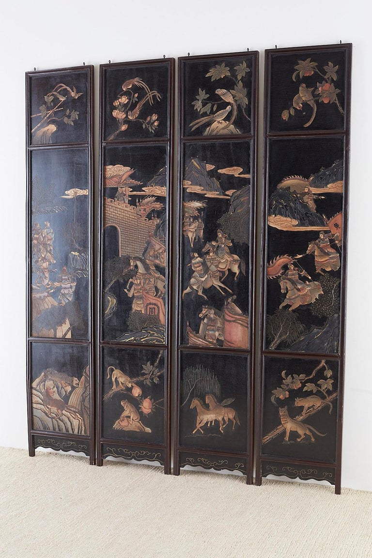 Chinese Four-Panel Lacquered Coromandel Panel Screen For Sale 12