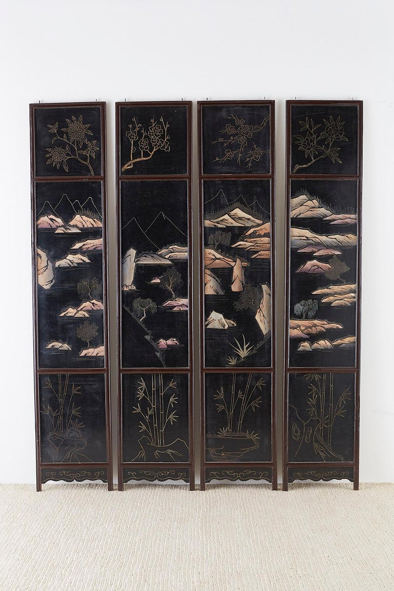 Chinese Four-Panel Lacquered Coromandel Panel Screen For Sale 13