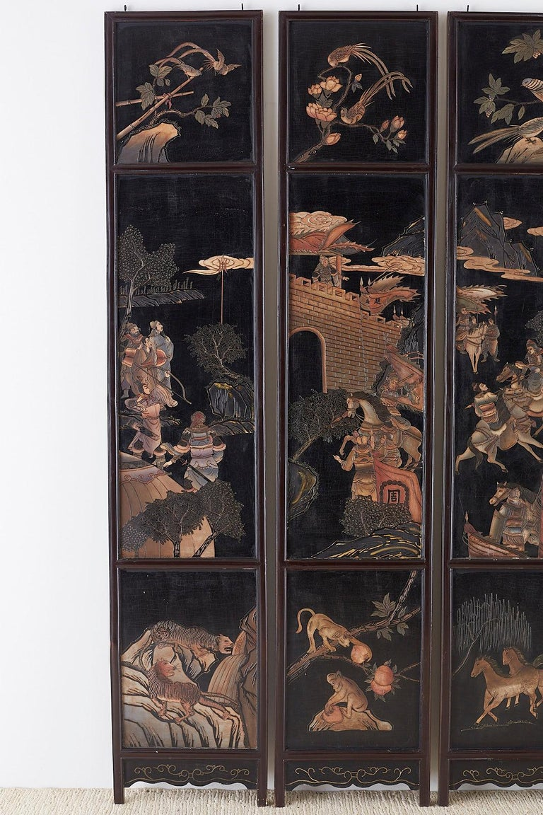 Chinese Export Chinese Four-Panel Lacquered Coromandel Panel Screen For Sale