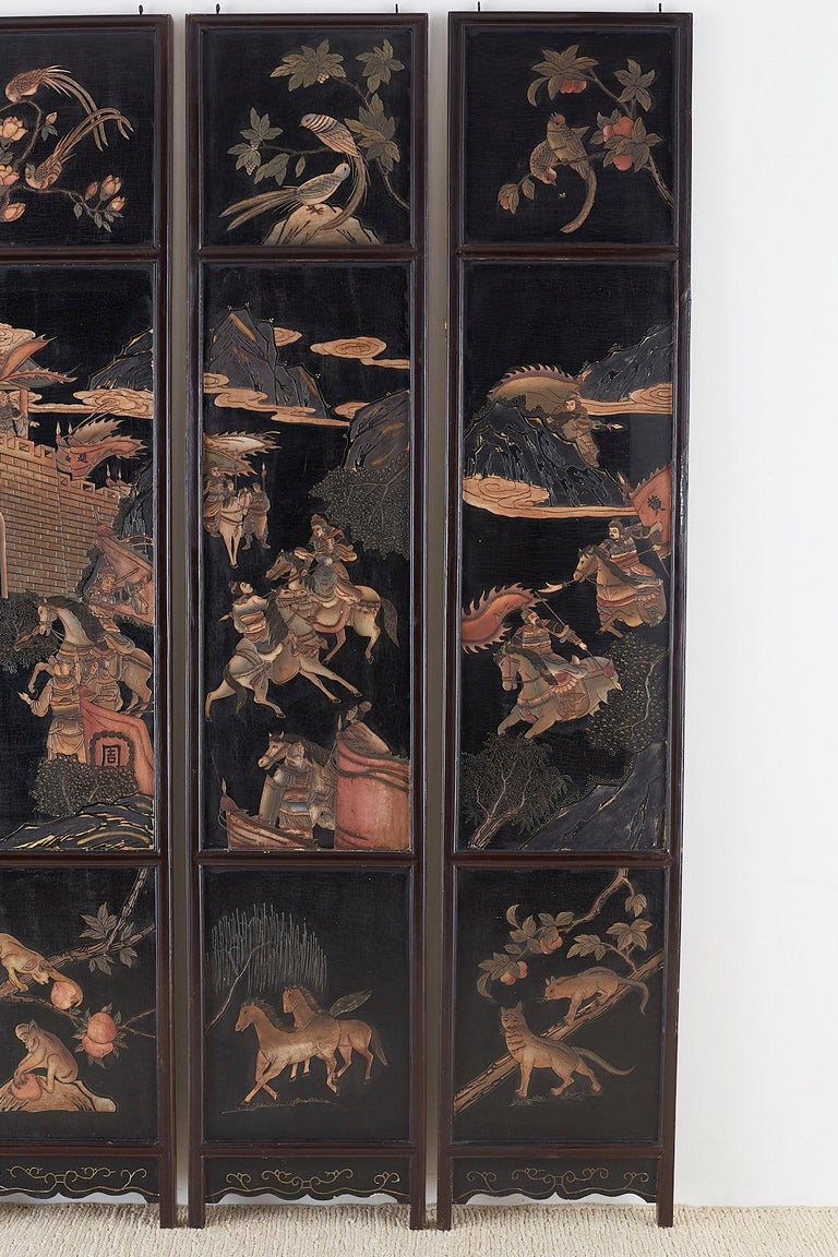 Hand-Crafted Chinese Four-Panel Lacquered Coromandel Panel Screen For Sale