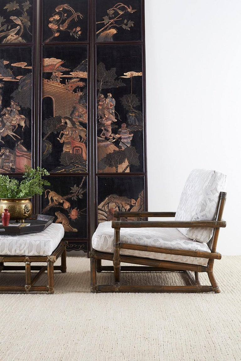 Chinese Four-Panel Lacquered Coromandel Panel Screen In Good Condition For Sale In Oakland, CA