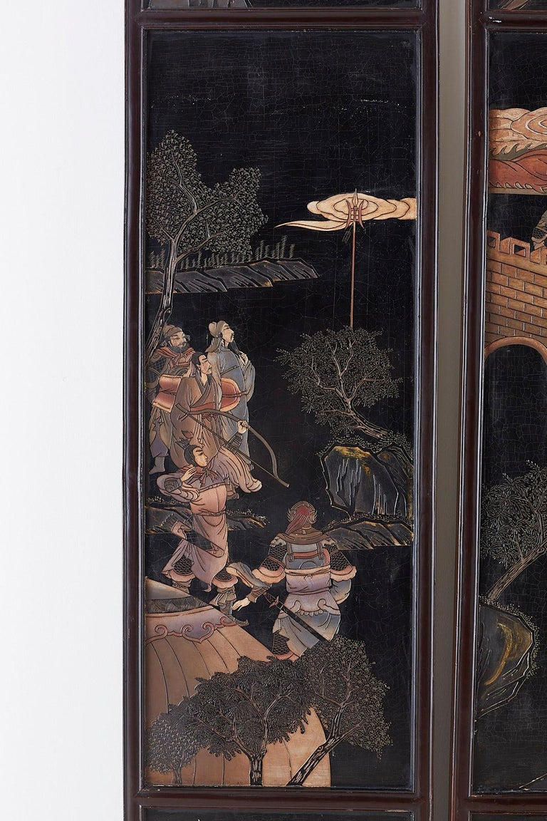 20th Century Chinese Four-Panel Lacquered Coromandel Panel Screen For Sale