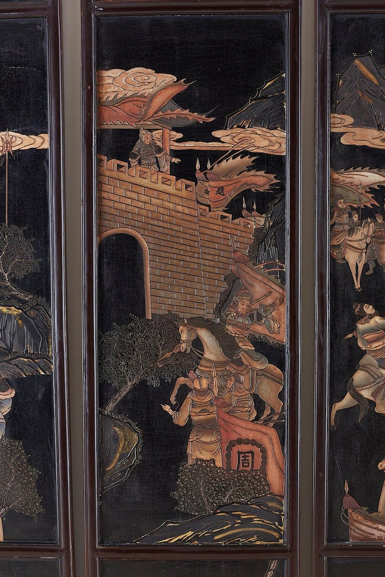 Wood Chinese Four-Panel Lacquered Coromandel Panel Screen For Sale
