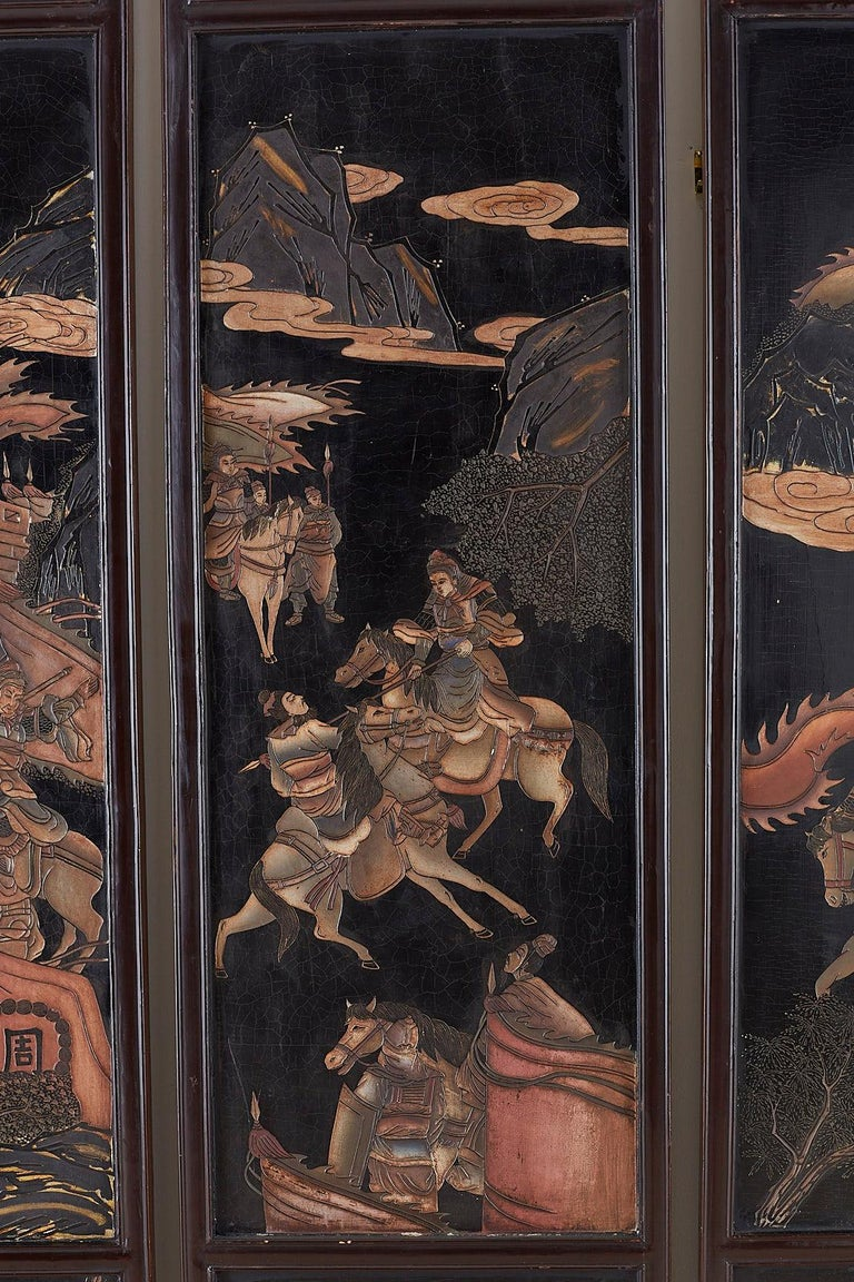 Chinese Four-Panel Lacquered Coromandel Panel Screen For Sale 1