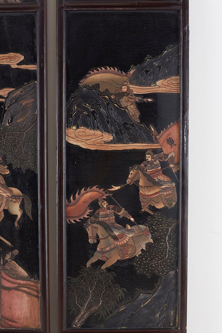 Chinese Four-Panel Lacquered Coromandel Panel Screen For Sale 2
