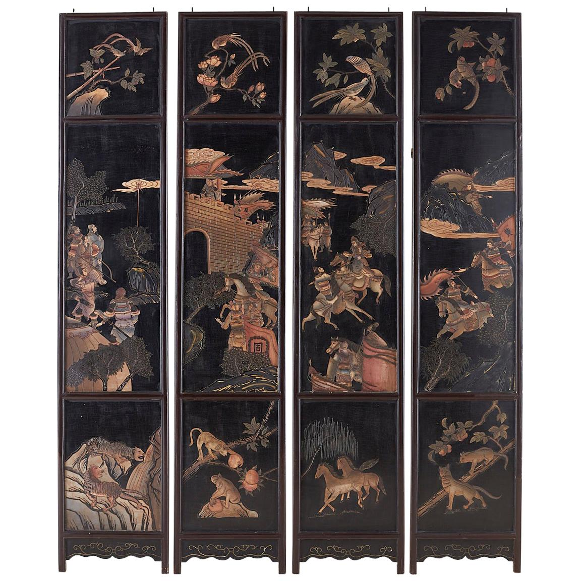 Chinese Four-Panel Lacquered Coromandel Panel Screen