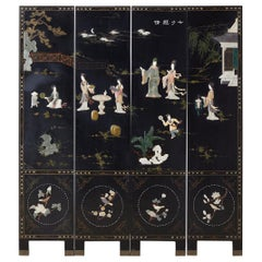 Chinese Four-Panel Screen Flora and Fauna Soapstone