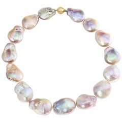 Chinese Freshwater Flat Baroque Natural Color Pink Cultured Pearl Necklace