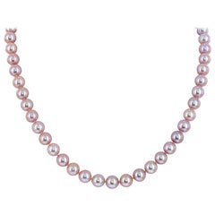 Chinese Freshwater Natural Color Pink Cultured Pearl Necklace 14K Gold Clasp