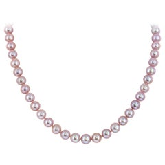 Freshwater Natural Pink Cultured 7.5-8mm Pearl Necklace 14KW Gold Clasp