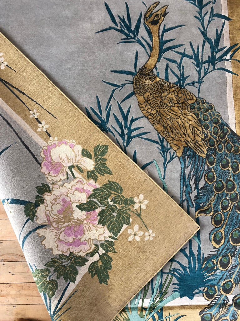 Chinese Garden of Virtue is a hand knotted wool and silk rug by Scottish designer Wendy Morrison. The rug is handcrafted in India using only the finest wool and silk and is Goodweave certified, meaning you can be confident that no child labour has
