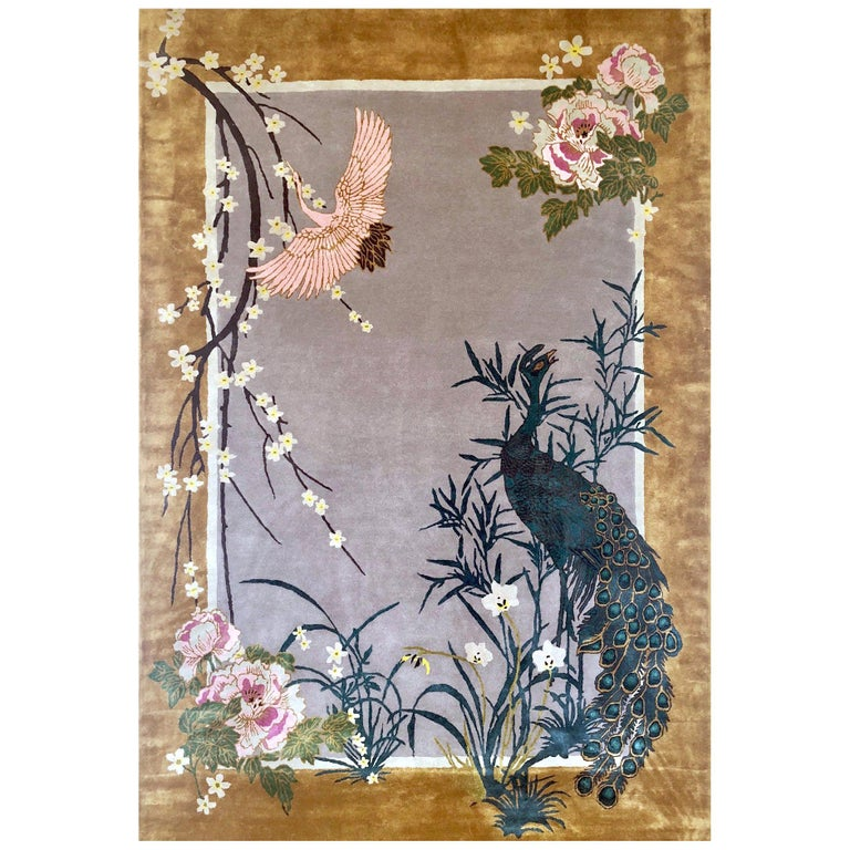 Chinese Garden Hand Knotted Wool and Silk Rug by Wendy Morrison For Sale