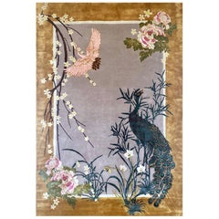 Chinese Garden Hand Knotted Wool and Silk Rug by Wendy Morrison