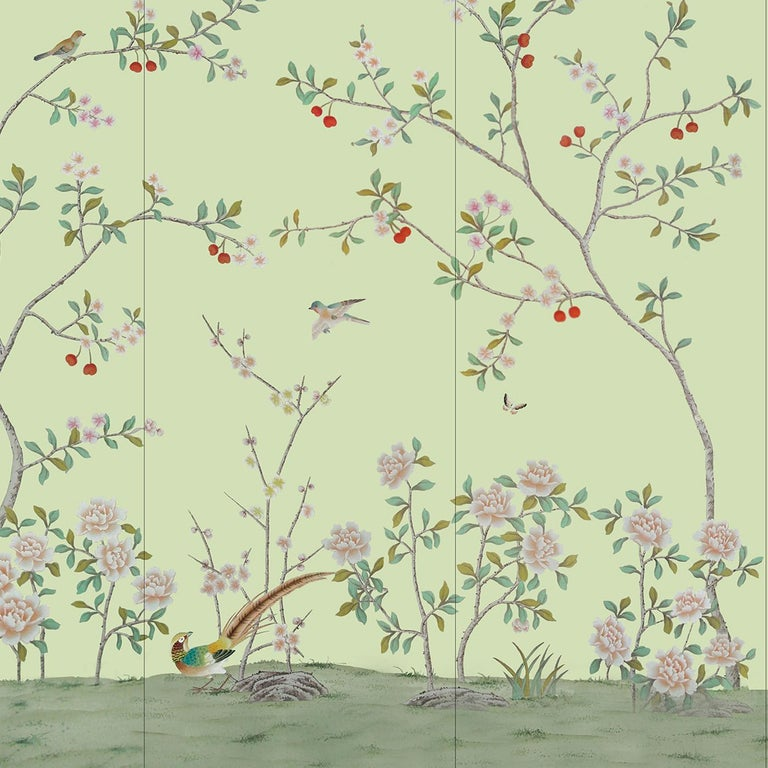 Hand-Painted Chinese Garden with Pheasants Wallpaper For Sale