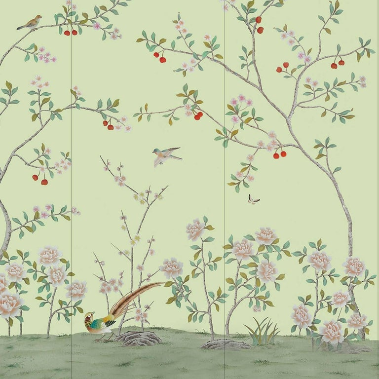 This elegant and alluring wallpaper is part of the China Classic collection that recovers the traditional chinoiserie of imaginary gardens hand-painted on silk. The four silk panels, with a mist green background, feature a sinuous composition