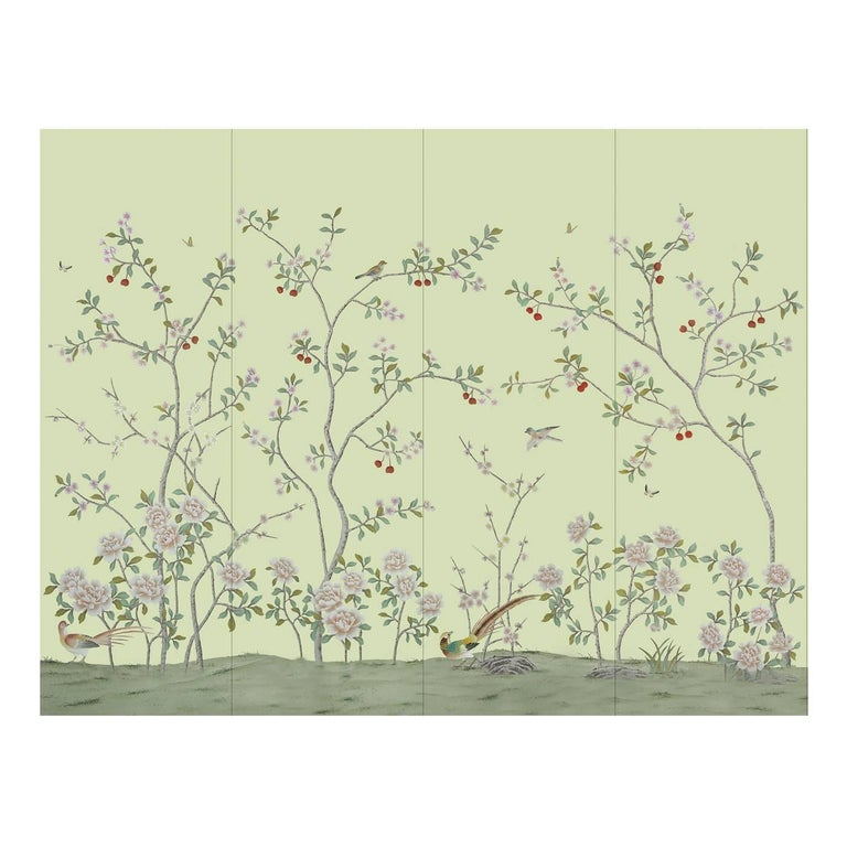 Chinese Garden with Pheasants Wallpaper For Sale
