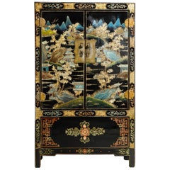 Chinese Gilt and Black Lacquer Chinoiserie Painted Cabinet with Bronze Hardware