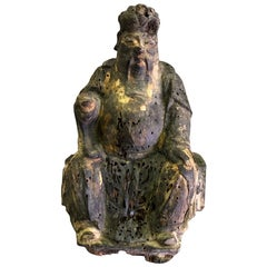Chinese Gilt and Wood Carved Chinese Temple Ancestral Seated Figure Sculpture