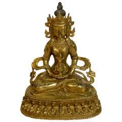 Chinese Gilt Bronze Figure of Seated Tara