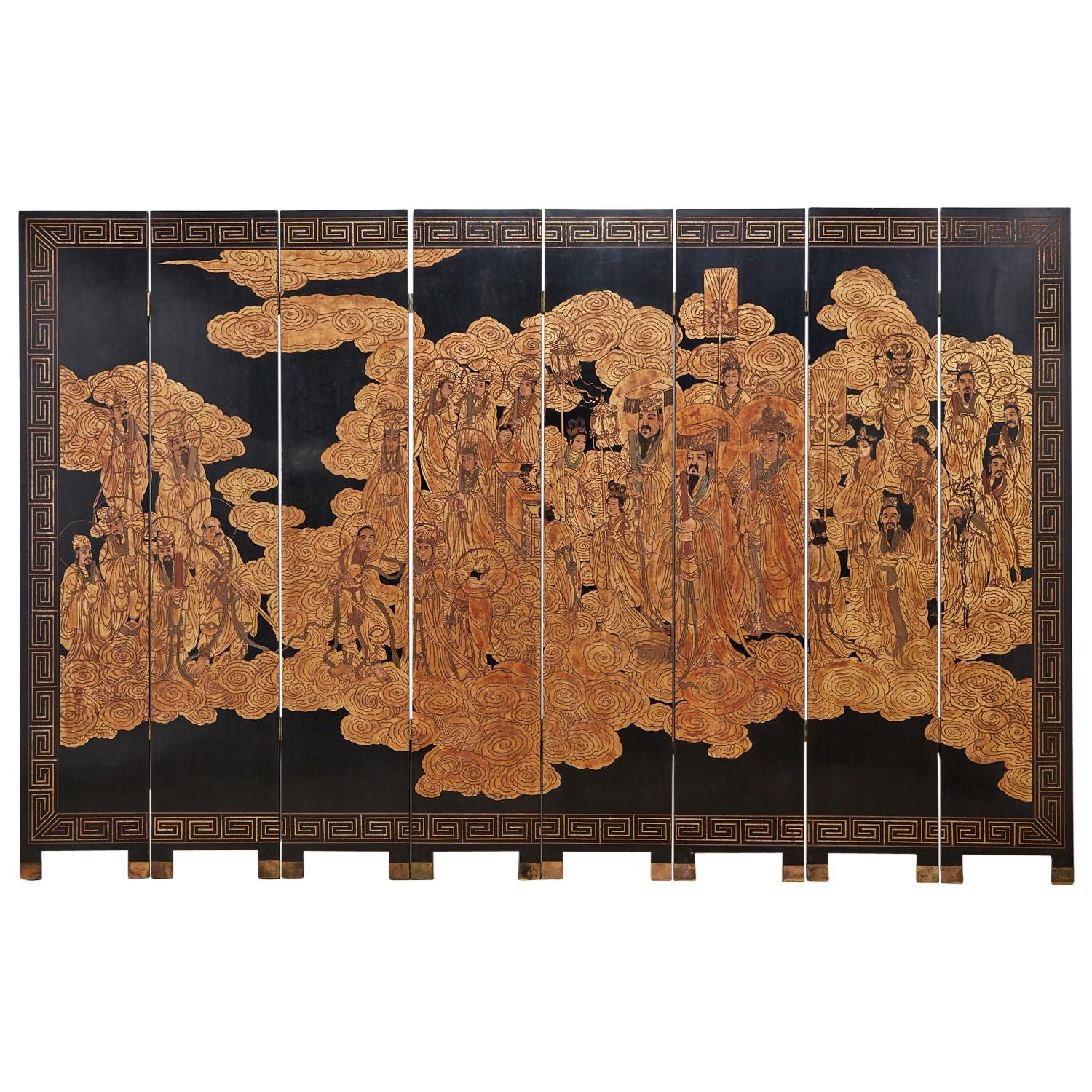 Chinese Gilt Coromandel Eight-Panel Screen Immortals Sky Gods