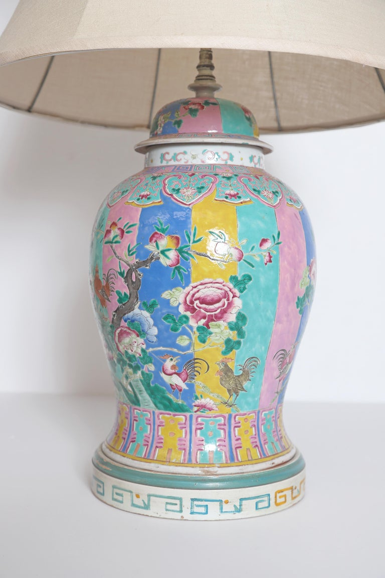 Hand-Painted Chinese Ginger Jar as Custom Lamp For Sale