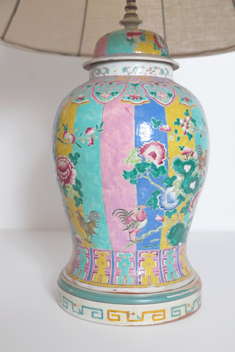 Chinese Ginger Jar as Custom Lamp In Good Condition For Sale In Dallas, TX